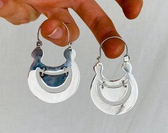 Half Moon Earrings. Media Luna. Sterling Silver