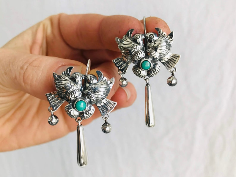 49c8e21b603a Taxco Filigree Earrings. Sterling Silver   Turquoise. Mexico.