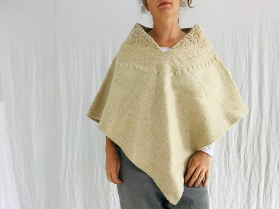 Wool Embroidered Poncho. Wool Hand-Woven Embroider