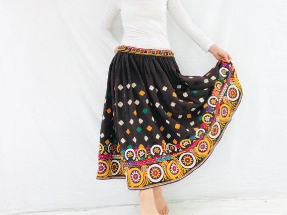 Vintage Rabari Long Embroidered Skirt. Hand Embroi