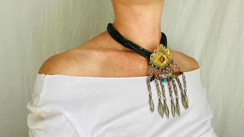 Multi Strand Turkmen Pendant on a Jade Choker Necklace