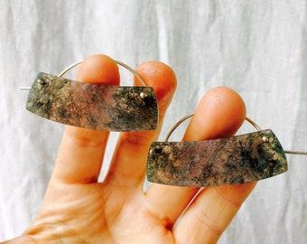 Moss Agate and Sterling Earrings. Modern Tribal Design