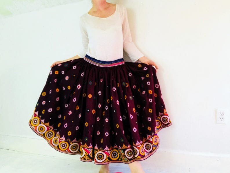 b61bce8cf8 Vintage Rabari Long Embroidered Skirt. Hand Embroidered. | Etsy