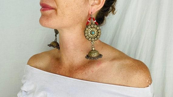 Antique Goldwashed Afghan Jumkha Earrings.