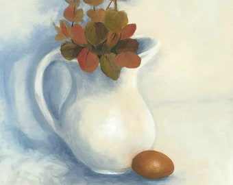 """One Good Egg 12"""" x 24"""" Original Still Life Egg and Pitcher Painting on Canvas by Torrie Smiley"""