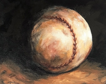 """Home Run II  6"""" x 6"""" x 1.5"""" Original Baseball Painting on Gallery Wrapped Canvas by Torrie Smiley"""