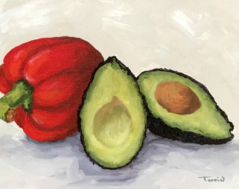 """Avocado and Red Bell Pepper 5"""" x 7"""" Original Still Life Painting by Torrie Smiley"""