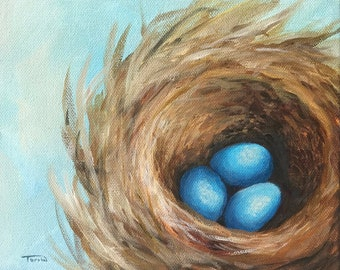 """The Robin's Nest V  8"""" x 8"""" Acrylic Painting of Blue Eggs and Nest on Gallery Wrapped Canvas by Torrie Smiley"""