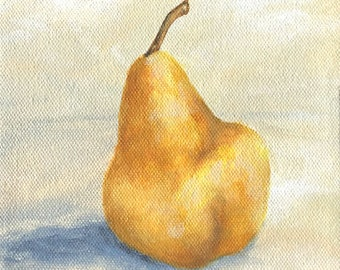 One Yellow Pear Still Life Painting on Canvas by Torrie Smiley