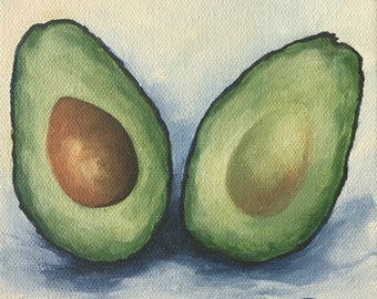 """More Avocado 6"""" x 6"""" Original Still Life Food Painting on Canvas by Torrie Smiley"""