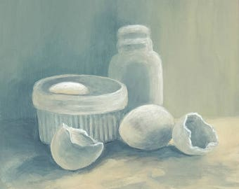 """More White 6"""" x 6"""" Original Still Life Painting on Ampersand Gessobord by Torrie Smiley"""