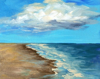 """Cloudy Day 6"""" x 6"""" Original Seascape Painting on Gallery Wrapped Canvas by Torrie Smiley"""