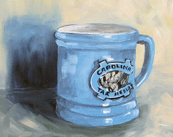 Carolina Tar Heel Coffee Cup 6 x 6 Original Still Life Painting on Gallery Wrapped Canvas by Torrie Smiley