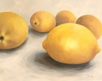 """Five Lemons 18"""" x 24"""" Original Painting on Deep Gallery Wrapped Canvas by Torrie Smiley"""