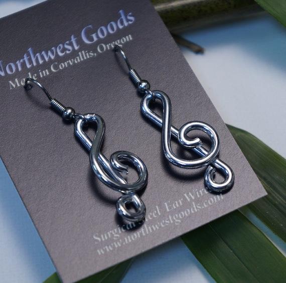 Aluminum treble clef note earrings