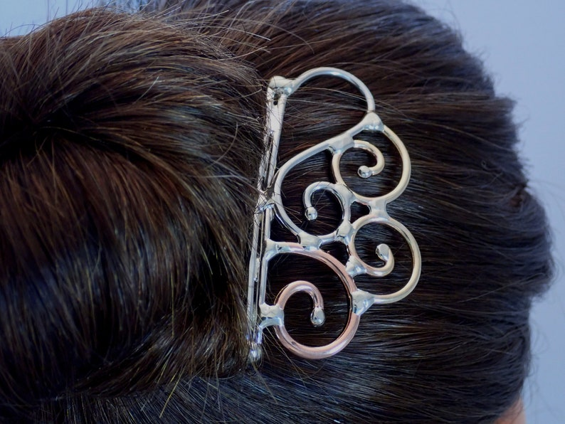 Bronze Copper /& Silver Heart Hair Comb Hair Pin Hair Fork Hair Stick
