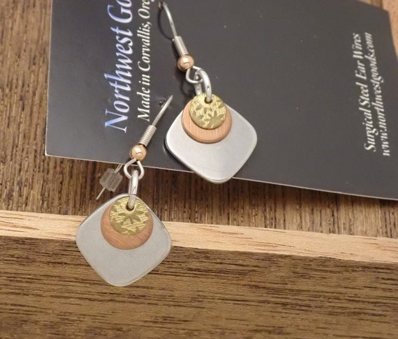 Mixed Metal Dangle Earrings on Surgical Steel Ear Wires