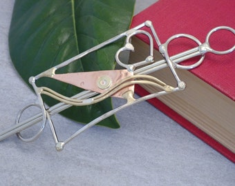 Abstract Copper, Silver, and Brass Hair Barrette with Stick