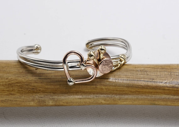 Copper heart Metal Cuff Bracelet