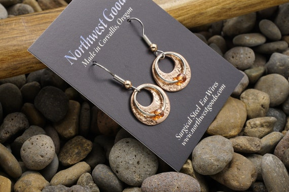 Copper with rose color beaded earrings