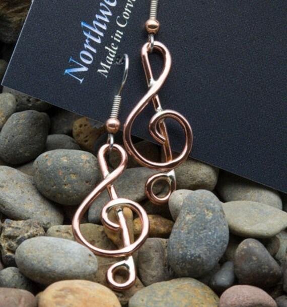 Treble clef note copper earrings