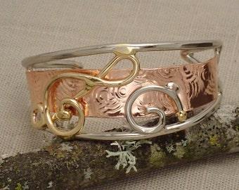 Statement Treble Clef Cuff Bracelet in Bronze, Copper, & Silver