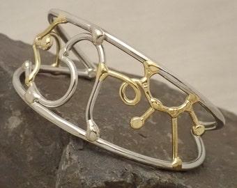Statement Cuff Bracelet in Bronze & Silver