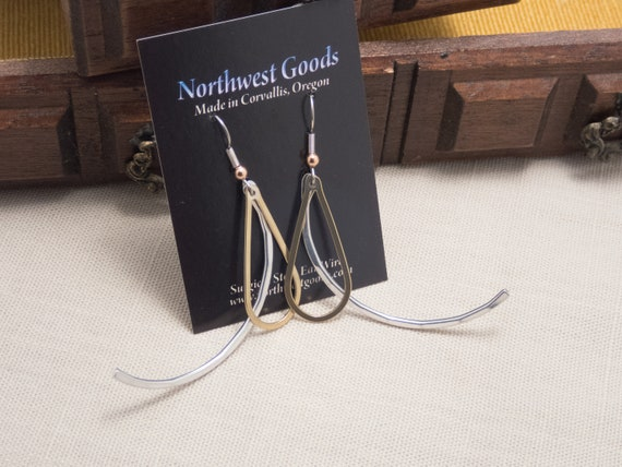 Whimsy brass and aluminum dangle earrings