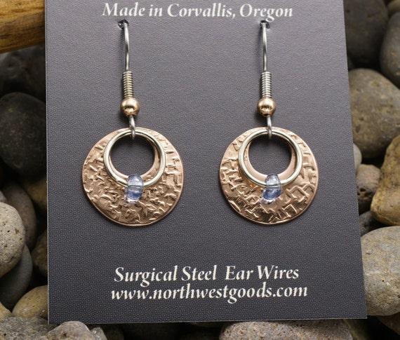 Copper dangle earrings surgical steel ear wires