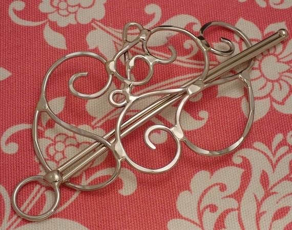 Silver Hair Barrette with Treble Clef, Hair Slide, Hair Pin, Hair Clip, Hair Clasp