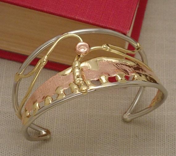 Scenic Statement Cuff Bracelet in Bronze, Copper, & Silver