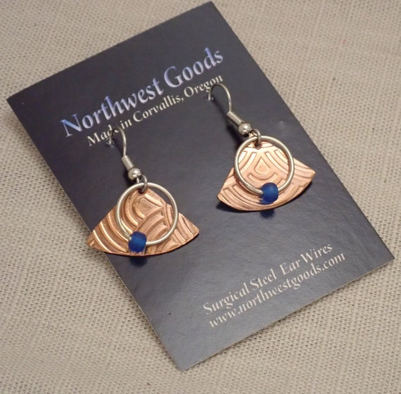 Copper and Silver Mixed Metal Dangle Earrings with Blue Glass Bead on surgical steel ear wires