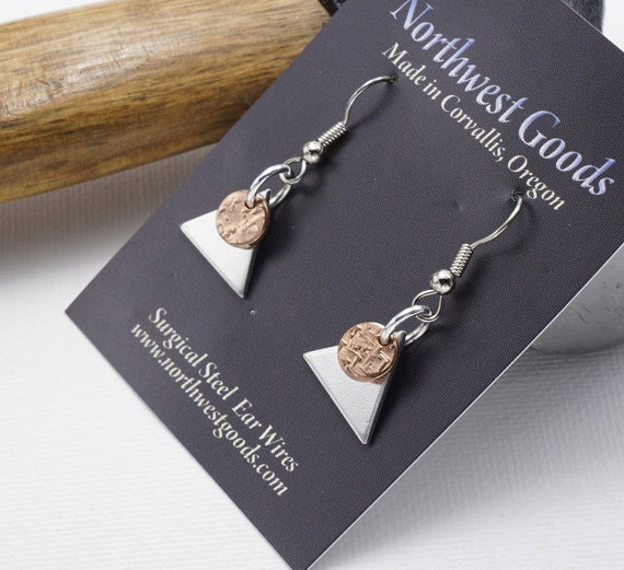 Copper and aluminum earrings surgical on steel ear wires