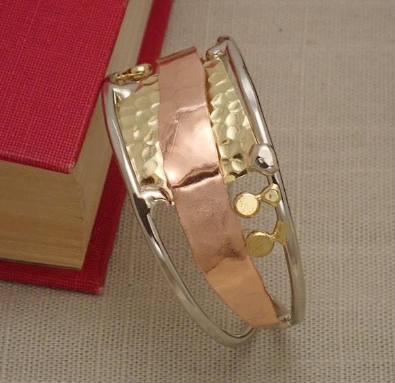 Silver, Bronze, & Copper Statement Cuff Bracelet