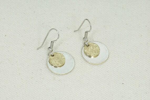Brass and silver dangle earrings