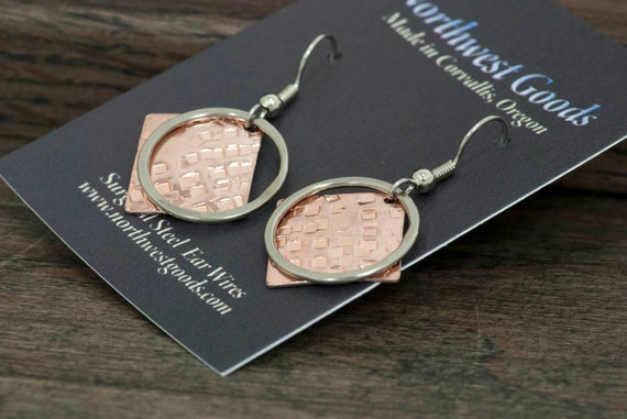 Copper and nickel silver earrings