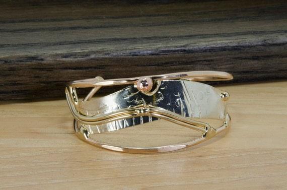 Mixed metal bracelet, cuff bracelet, bronze, copper, nickel silver, sterling silver