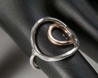 Solid Sterling Silver and Copper Bird's Eye Ring
