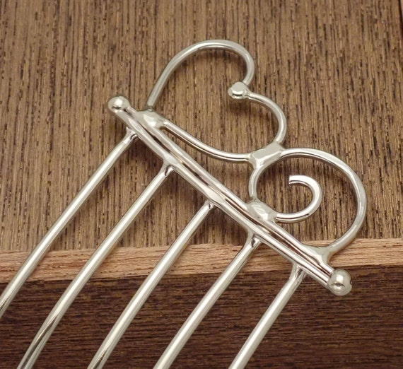 Heart  topped hair comb, hair accessory, hair fork,  hair pin, hair stick, hair accessory, hair toy in nickel silver, copper, and brass