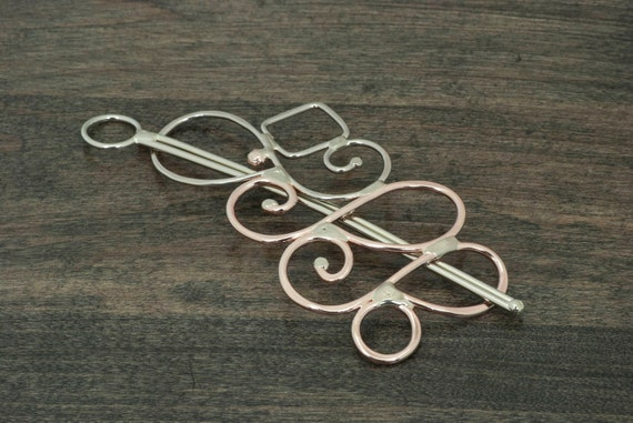 Metal hair slide or hair barrette hair slide, scarf pin or shawl pin, solid nickel silver and copper