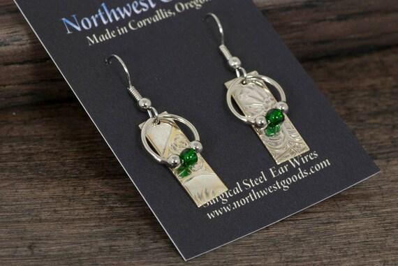 Metal Earrings with green beads