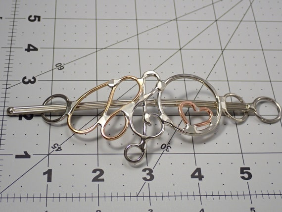 "Hair Barrette ""standard size"" hear and treble clef note"