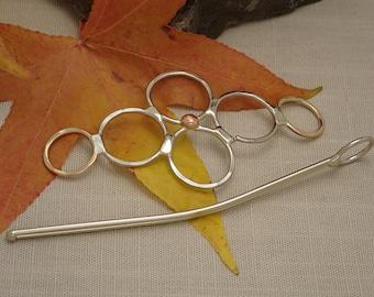 Silver, Bronze, & Copper Circles Hair Barrette, Hair Slide, Hair Clip, Hair Clasp, Hair Pin, Hair Accessory