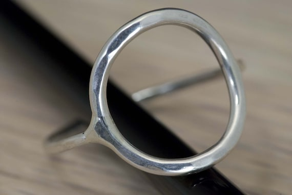 Larger Circle Sterling Silver Ring (custom fit to any size)