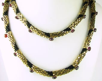 Garnet necklace, gold and garnet, garnet and gold, crochet necklace, gemstone necklace