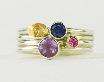 Stackable rings, sapphire ring, amethyst ring, kyanite ring, gemstone ring, gemstone ring set, ring set, stacking ring set