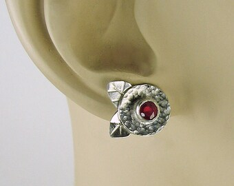 Ruby Flowers, Ruby studs, Ruby Earrings, ruby and silver, silver flowers, Art deco Flowers, Art Deco design