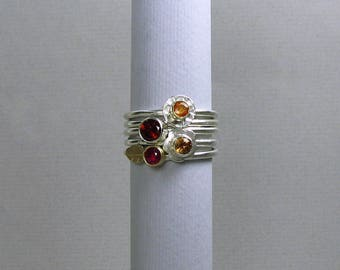 Stackable rings, ruby ring, zircon ring, sapphire ring, garnet ring, gemstone ring, gemstone ring set, ring set, stacking ring set