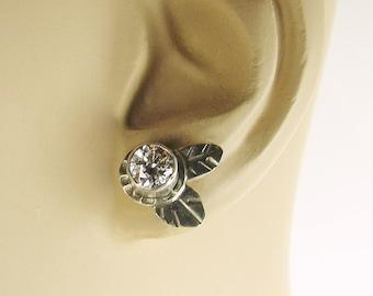 Ice Flowers, Flower studs, white topaz, silver flowers, flower earrings, silver and white, sparkly earrings