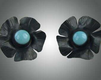 Turquoise earrings, Mexican flower earrings, black and turquoise earrings, turquoise and black,  black flowers, flower earrings